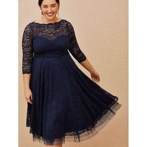 NWT Torrid Navy Blue Lace Illusion Midi Dress 18